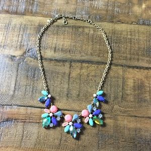 J. Crew rainbow bright colored statement necklace